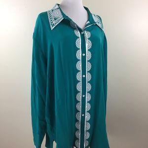 NWT BOB MACKIE QVC 100% Silk Button Shirt